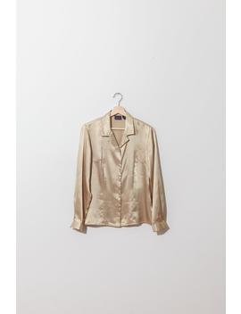 Vintage Shiny Beige Blouse / Gold Satin Blouse / Career Top / Size 8 / Fits Small S by Inherit Shop Vintage