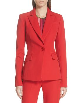 Stretch Crepe Fitted Blazer by Milly