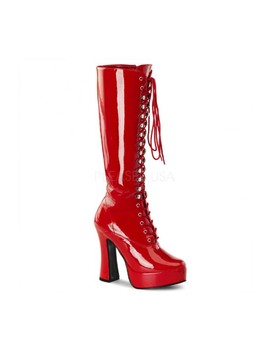 Red Lace Up Knee High Platform Boots Patent by Ami Clubwear