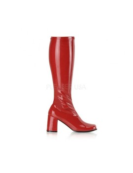 Red Stretch Patent Block Heel Go Go Boots by Ami Clubwear