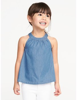 High Neck Chambray Tank For Toddler Girls by Old Navy