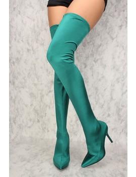 Sexy Green High Shine Thigh High Heel Boots by Ami Clubwear