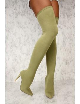 Sexy Olive Stretchy Nylon Thigh High Ami Clubwear Boots by Ami Clubwear