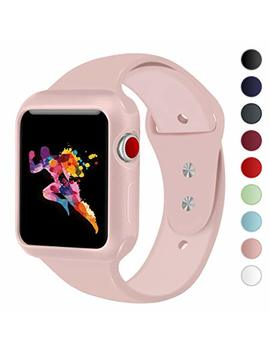 Keasdn Compatible With Apple Watch Band With Case 38mm 42mm, Silicone Sport I Watch Band With Shock Proof Case Compatible With Apple Watch Series 3/2/1 Sport And Edition by Keasdn