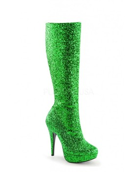 Green Knee High Platform Heel Boots Glitter by Ami Clubwear