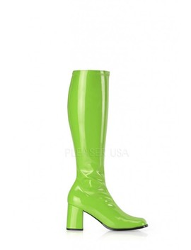 Lime Green Chunky Heel Go Go Boots Patent Faux Leather by Ami Clubwear