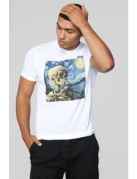 Starry Night Skull Short Sleeve Tee   White by Fashion Nova