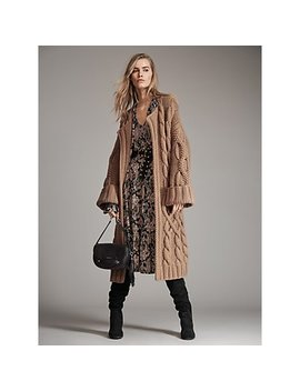 Cable Knit Oversized Cardigan, Paisley Matte Jersey Dress, Cary Saddle Bag, Avery Boot by Michael Michael Kors