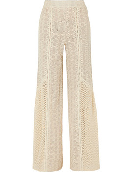 Crocheted Cotton Blend Gauze Wide Leg Pants by Jonathan Simkhai