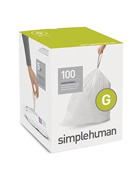 Simplehuman Code G Custom Fit Liners, Drawstring Trash Bags, 30 Liter / 8 Gallon, 100 Count Box by Simplehuman