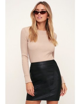 Alessia Black Vegan Leather Mini Skirt by Bardot
