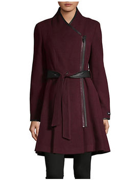 Belted Wool Blend Fit And Flare Coat by Dkny