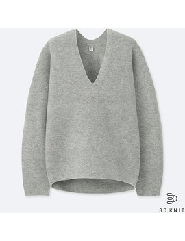 Women 3 D Premium Lambswool Sweater by Uniqlo