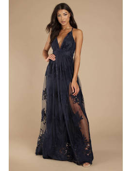 Analise Navy Plunging Floral Maxi Dress by Tobi