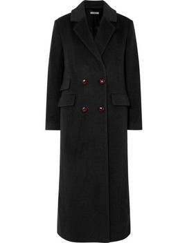 Mayer Double Breasted Leather Trimmed Wool Coat by Ganni