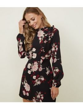 Ax Paris Black Floral Frill Yoke Dress by New Look