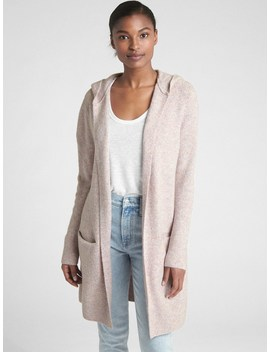 Textured Open Front Hooded Cardigan Sweater by Gap