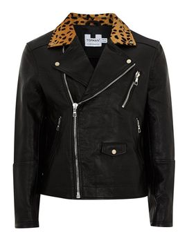 Leather Biker Jacket With Leopard Collar by Topman