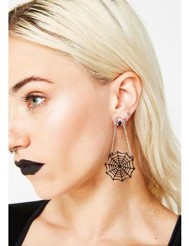 Web Of Lies Spider Earrings by Ana Accessories