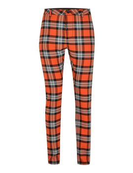 Orange Check Stretch Skinny Pants by Topman