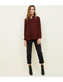 Red Snakeskin Print Pocket Front Shirt by New Look