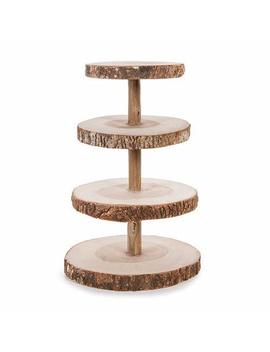 Darice David Tutera 4 Tier Rustic Wood Slice Cupcake Stand by Darice