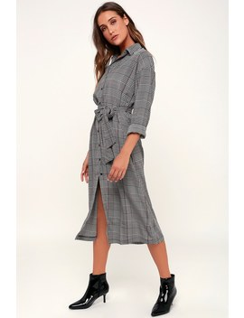 Good News Black And White Houndstooth Print Midi Shirt Dress by Lush