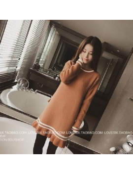 Korean Women Autumn Winter Knit Sweater Casual Loose Pullover A Line Tunic Dress by Unbranded