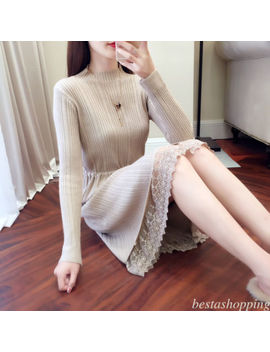 Women Knit A Line Long Sleeve Lace Drawstring Sweater Casual Autumn Winter Dress by Bestashopping