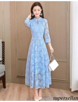 Women Lace A Line Cheongsom Qipao High Waist 3 Xl Bridal Formal Prom Career Dress by Supersellsn