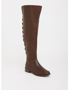 Brown Lattice Faux Leather Over The Knee Boot (Wide Width) by Torrid
