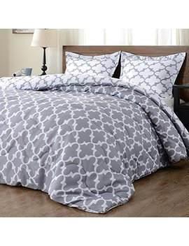 Downluxe Lightweight Printed Comforter Set (King,Grey) With 2 Pillow Shams   3 Piece Set   Hypoallergenic Down Alternative Reversible Comforter by Downluxe