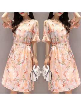 Korean Women A Line Floral O Neck Flare Sleeve High Waist Tunic Party Maxi Dress by Unbranded