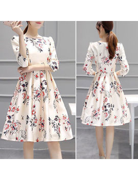 Women Girls Slim Dress A Line Dress 3/4 Sleeve Floral Dress Party Sundress by Unbranded