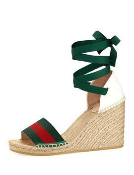 Web Wedge Espadrille Sandals by Gucci