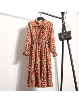 Women's Vintage Boho Floral Long Sleeve Ladies Casual Party Knee Skirt Dress by Yingyan