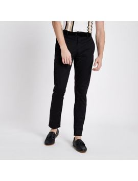 Black Skinny Fit Belted Chino Trousers by River Island