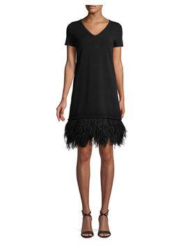 V Neck Short Sleeve Feather Hem Dress by Milly