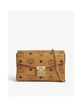 Logo Printed Leather Clutch by Mcm