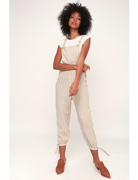 Bahamas Beige Striped Jumpsuit by Rhythm