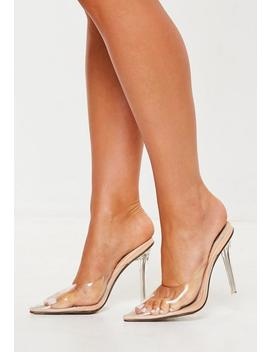 Nude Perspex Toe Closed Mules by Missguided
