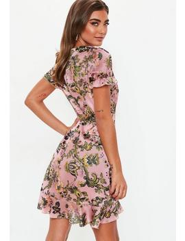 Pink Short Sleeve Floral Print Tie Waist Tea Dress by Missguided