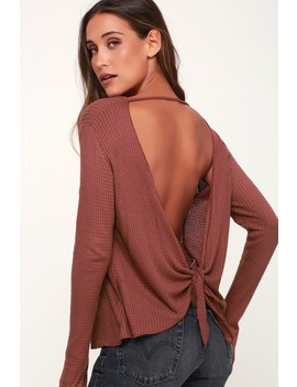 Back At It Mauve Long Sleeve Backless Thermal Top by Lucy Love
