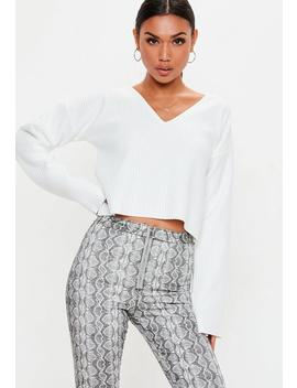 White Boxy Cropped Sweatshirt by Missguided