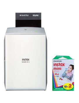 Fujifilm Instax Share Printer Sp 2 Si Silver (16522232) With Fujifilm Instax Mini Twin Pack Of 10 Total 20 Sheets Of Instant Film by Fujifilm