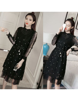 Korean Women's Lace A Line Beaded Belt Empire Waist Party Cocktail Shift Dress by Dreamstyleshow