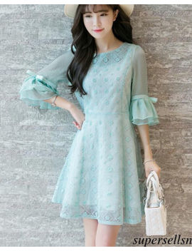 Korean Women Lace A Line Bell Sleeve High Waist Tunic Party Gown Cocktail Dress by Supersellsn