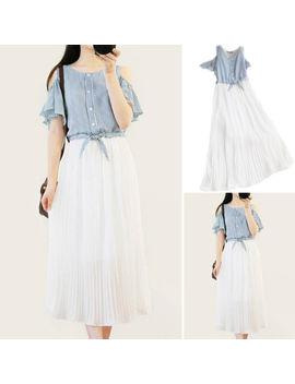 Korean Women Chiffon Neck Empire Waist Party Slim Summer Tunic Maxi Long Dress by Unbranded