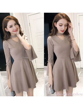 Korean Women A Line Empire Waist Halter Evening Party Cocktail Club Tunic Dress by Dreamstyleshow
