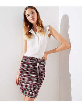 Striped Tweed Tie Waist Skirt by Loft